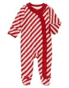 GYMBOREE-HOLIDAY-SHOP-CANDY-CANE-STRIPE-FOOTED-ONE-PIECE-Preemies-0-3-6-9-NWT