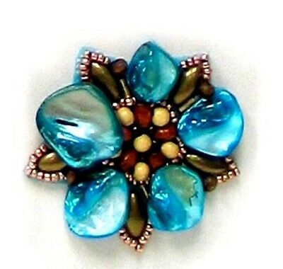E5863 TURQUOISE PEARL SHELL BEADED APPLIQUE MOTIF 2""