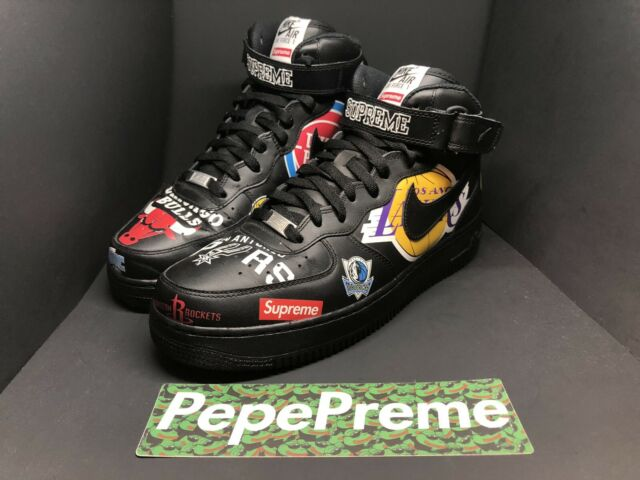 Nike Air Force 1 Mid '07 Supreme NBA Size 12 Black Black [AQ8017 001] SS18