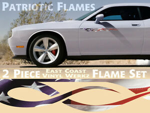 American Flag Pinstripe Flame Decals 2pc Set Car Truck Jeep 4x4