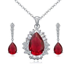 18K-WHITE-GP-GENUINE-CZ-amp-AUSTRIAN-CRYSTAL-RUBY-RED-NECKLACE-amp-EARRING-SET