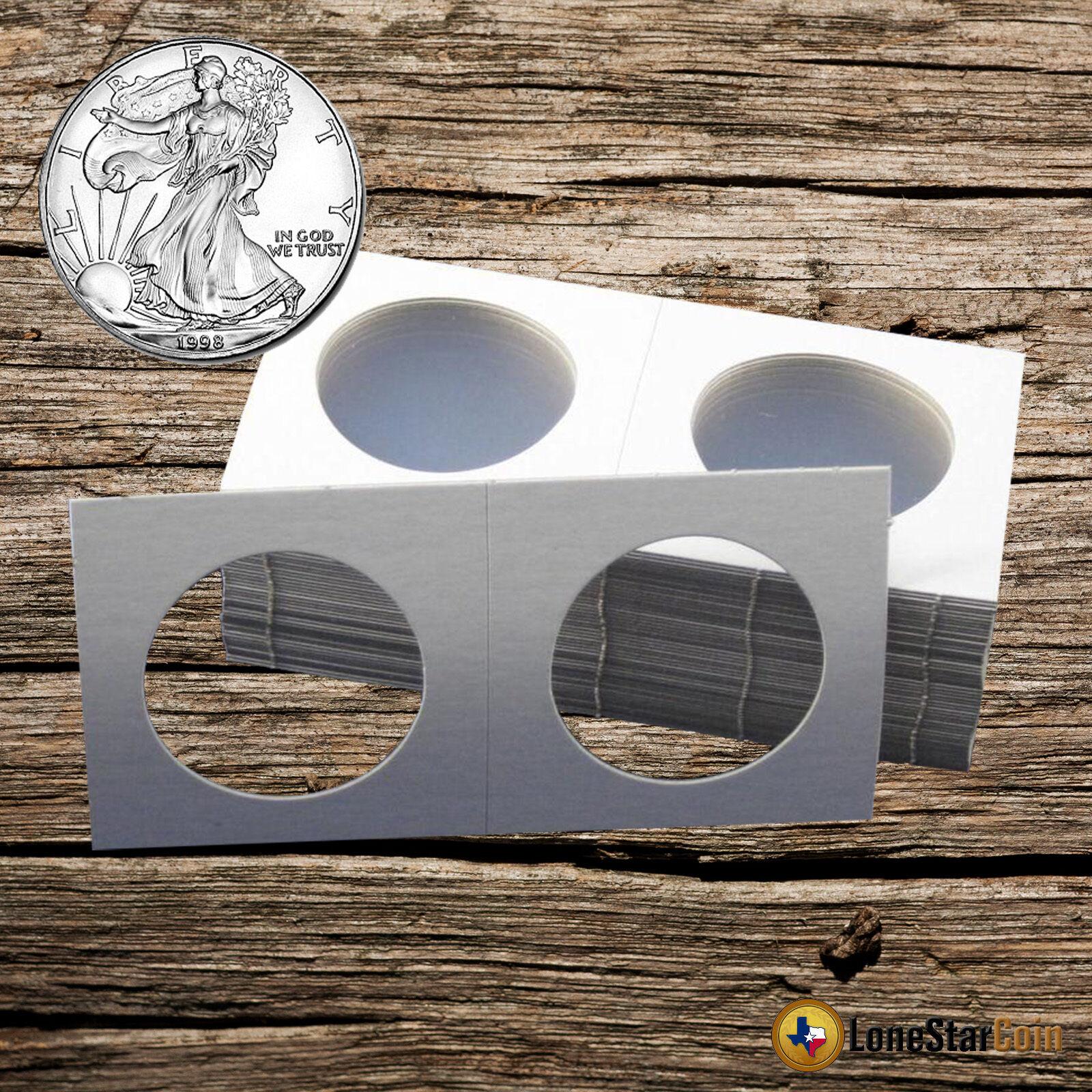 25 BCW Silver Eagle Coin Holder 2.5x2.5 Crown Mylar Cardboard Flip Storage Case