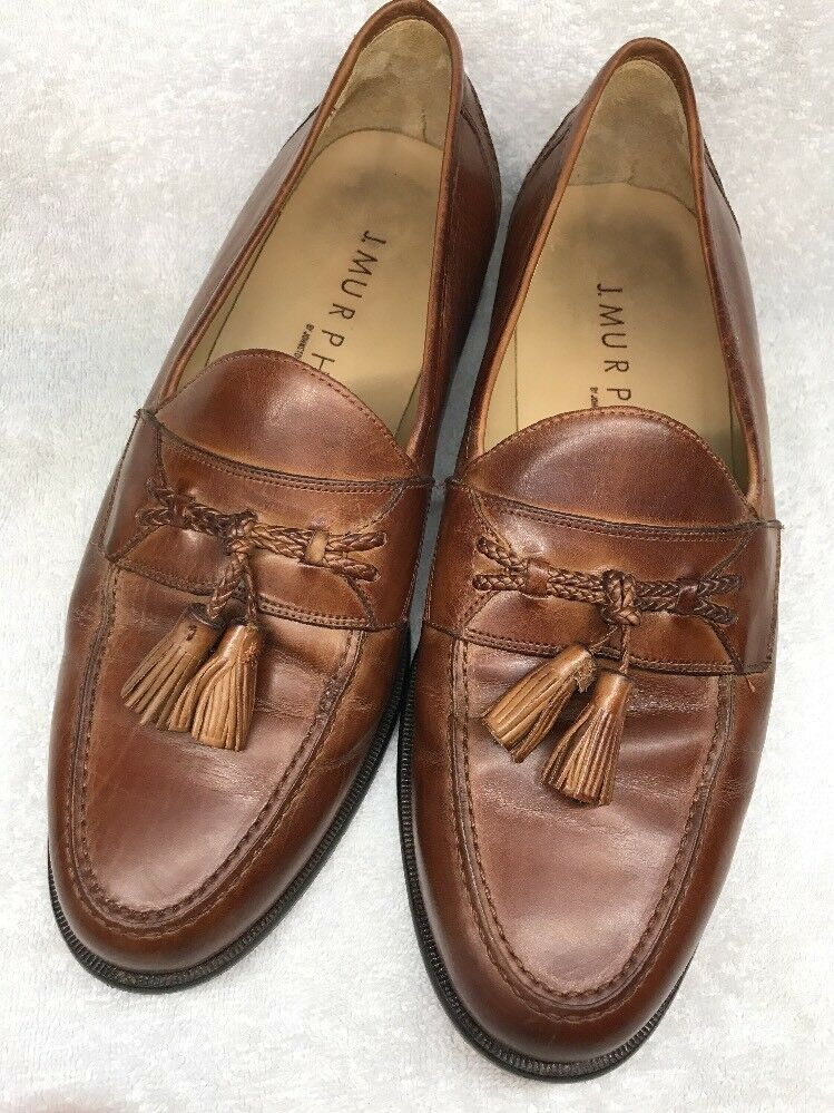 J Murphy Mens Brown Tassel Loafers DRESS shoes Leather Sz10m