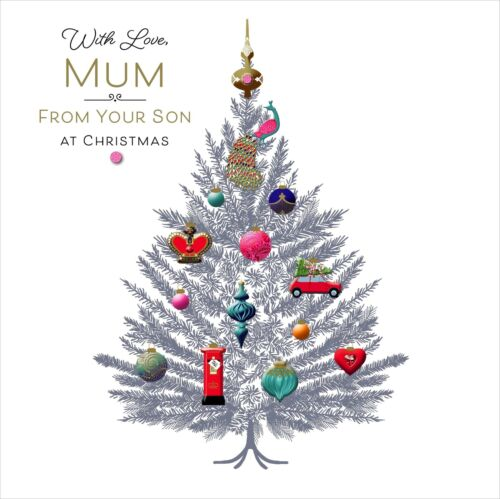 Mum From Your Son Embellished Christmas Greeting Card Special Xmas Cards