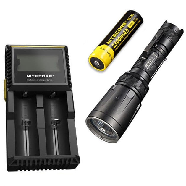 Combo  Nitecore SRT7GT Flashlight  wNL183 2300mAh Battery & D2 Charger