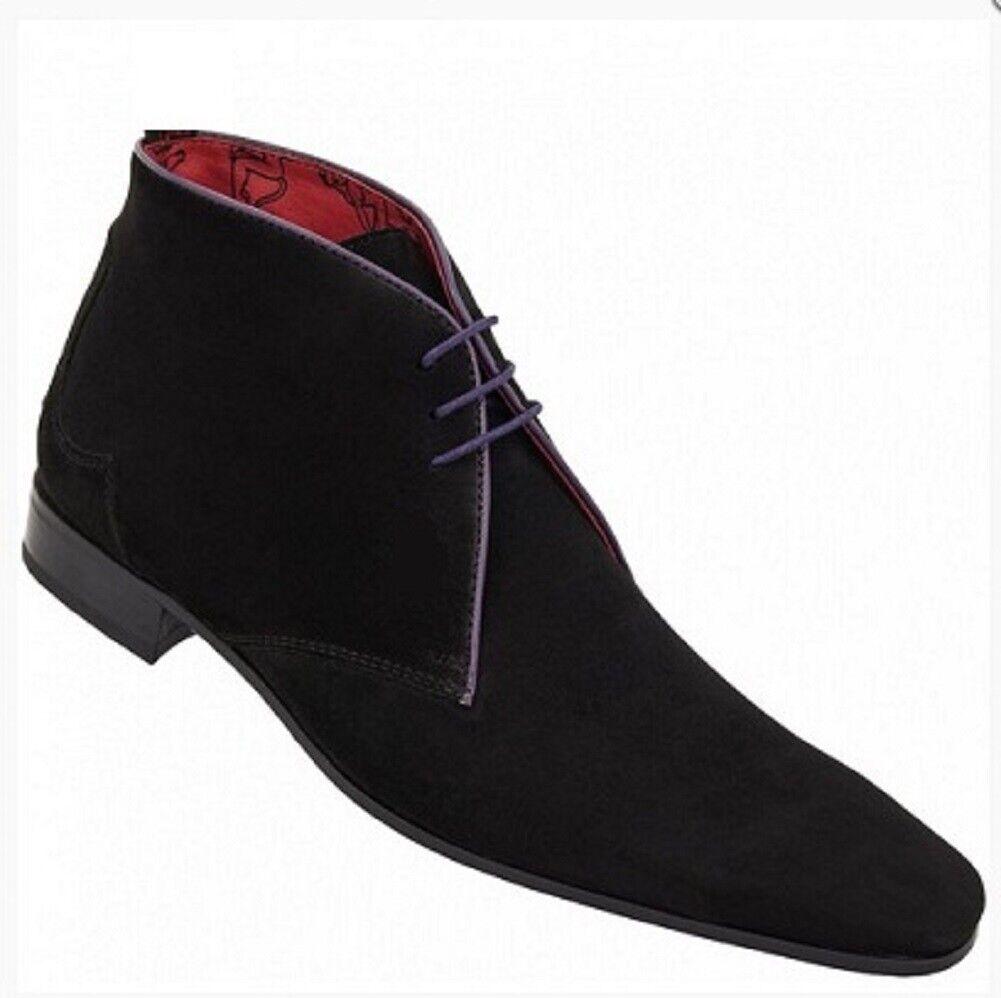 botas para hombre Hecho a Mano Chelsea Tobillo de Cuero De Gamuza Azul Ropa Formal Informal Zapato Nuevo