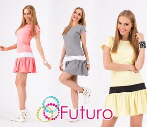 Lovely-Women-039-s-Mini-Dress-Short-Sleeve-Crew-Neck-Tiered-Tunic-Sizes-8-10-FA307