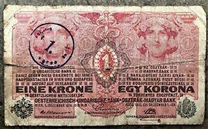 1916-WWI-AUSTRIA-HUNGARY-8-LANGUAGE-KRONE-NOTE-OVERPRINTED-for-ZAGREB-DIRECTORAT