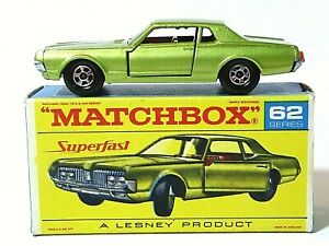Matchbox-Lesney-No-62c-Mercury-Cougar-Raro-F1-autosteer-Rojo-Superfast-script-Caja