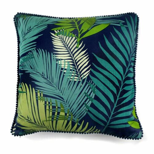Free P/&P Tropical Navy Forest Green Cushion Covers With Pom Pom Edge