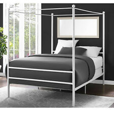 Canopy Bed Frame Queen Size Metal Princess Kids Bedroom Furniture White New