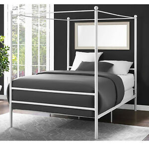 Canopy Bed Frame Queen Size Metal Princess Girl Kids
