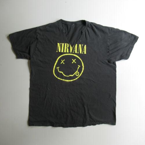 Vtg Nirvana Shirt Smiley Face 90s Rock Band Graphi