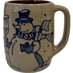 Beaumont Brothers Pottery Mug Salt Glazed Cobalt Blue Snowman 16 Oz 1998 EUC