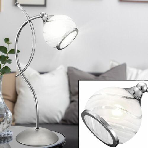 Schreib Tisch Lampe verstellbar Chrom Strahler Glas satiniert Lese Leuchte weiß