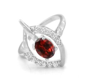 925-Sterling-Silver-Ring-Red-Garnet-Natural-Gemstone-Size-4-5-6-7-8-9-10-11