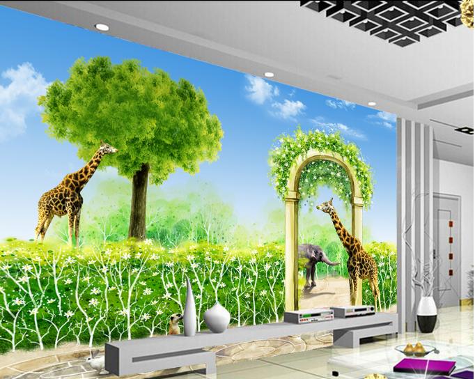 3D Gras Giraffe Baum 9885 Tapete Wandgemälde Tapeten Bild Familie DE Summer