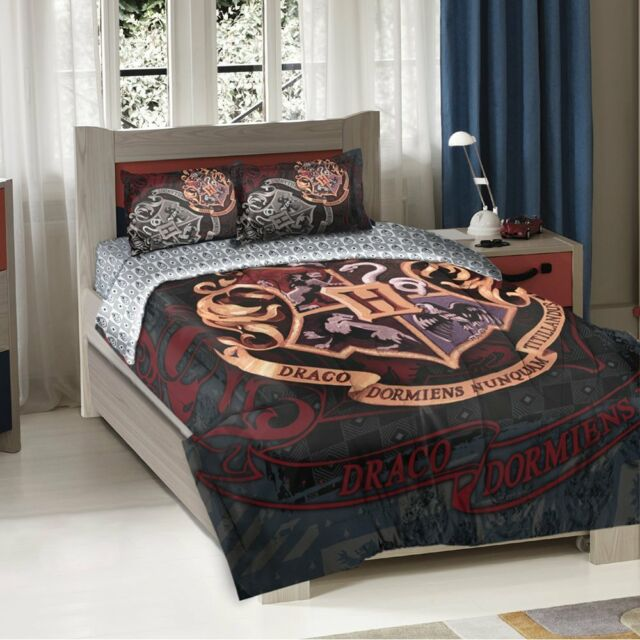 Harry Potter Hogwarts School Motto Twin/Full Comforter Pillow Sham Set
