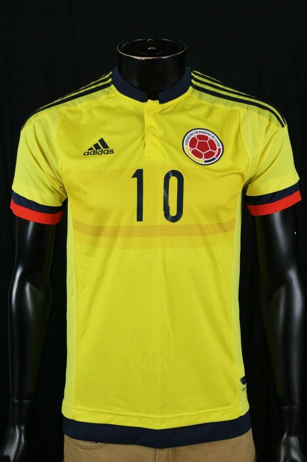 Adidas Mens Yellow Polo Colombiana James Rodriguez Sz Medium M