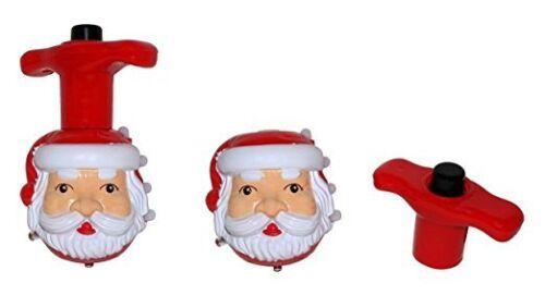 2 x Kinder Spielzeug Weihnachtsmann Spiel Kreisel Weihnachten LED Licht Musik