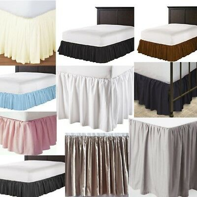 "Three Sided Tailored Bed Skirt Split Corner 620 TC Solid Cotton Drop 19/"" 20/"" 21/"""