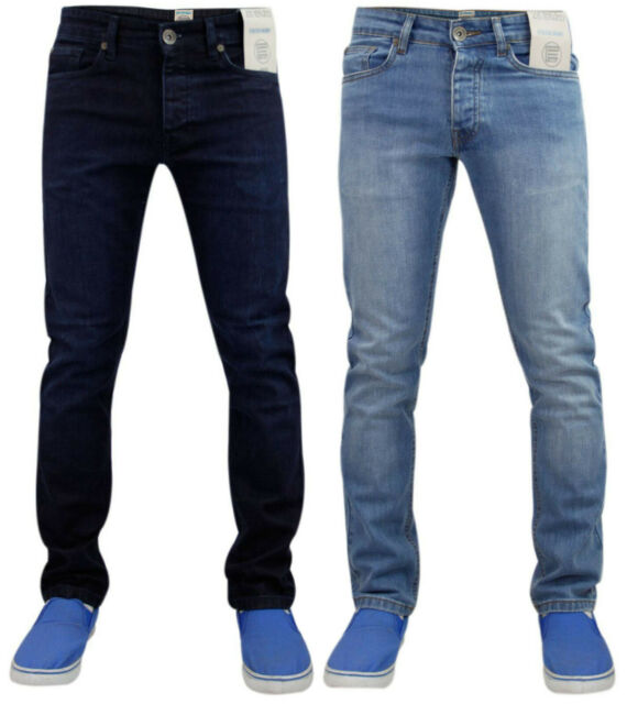 New Mens Enzo Stone Washed Stretch Denim Jeans Skinny Slim Fit Trouser Pants