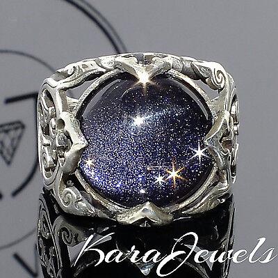 Mens Ring 925 Sterling Silver Blue Aventurine Unique Elegant artisan jewelry