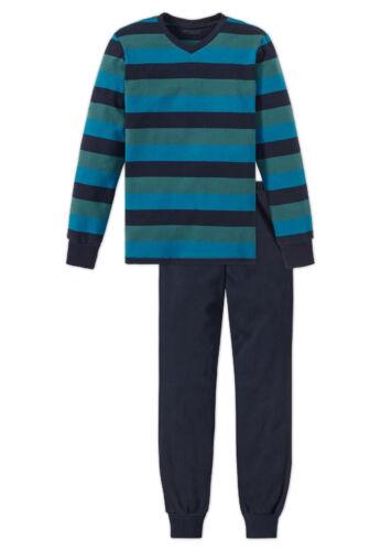 Schiesser Jungen warmer Schlafanzug Pyjama  blau Gr.XS 140  NEU UVP 39,95