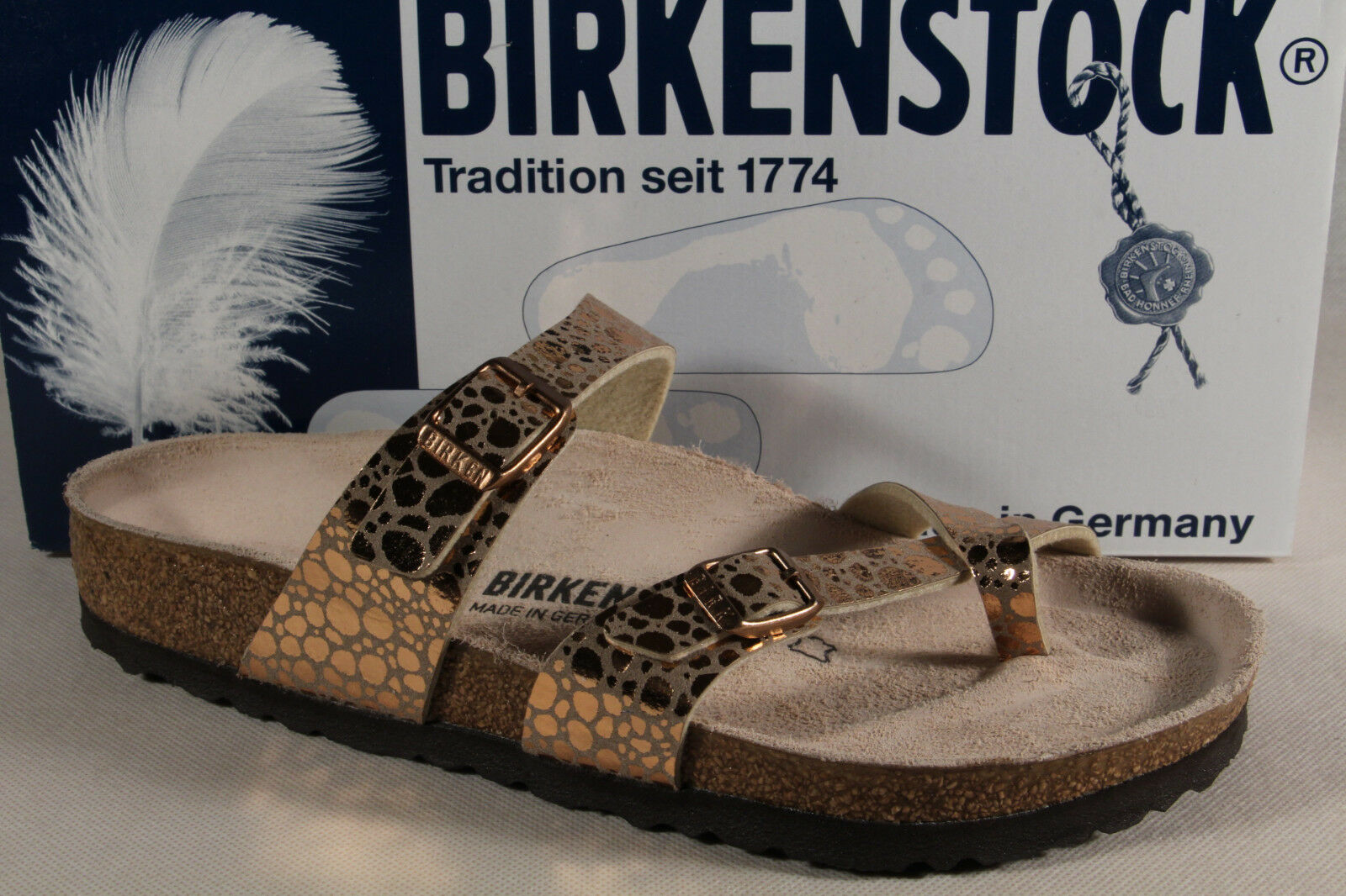 Birkenstock Zehentrenner kupfer Pantolette Pantoletten Hausschuhe Pantoffel kupfer Zehentrenner NEU fcfa5c