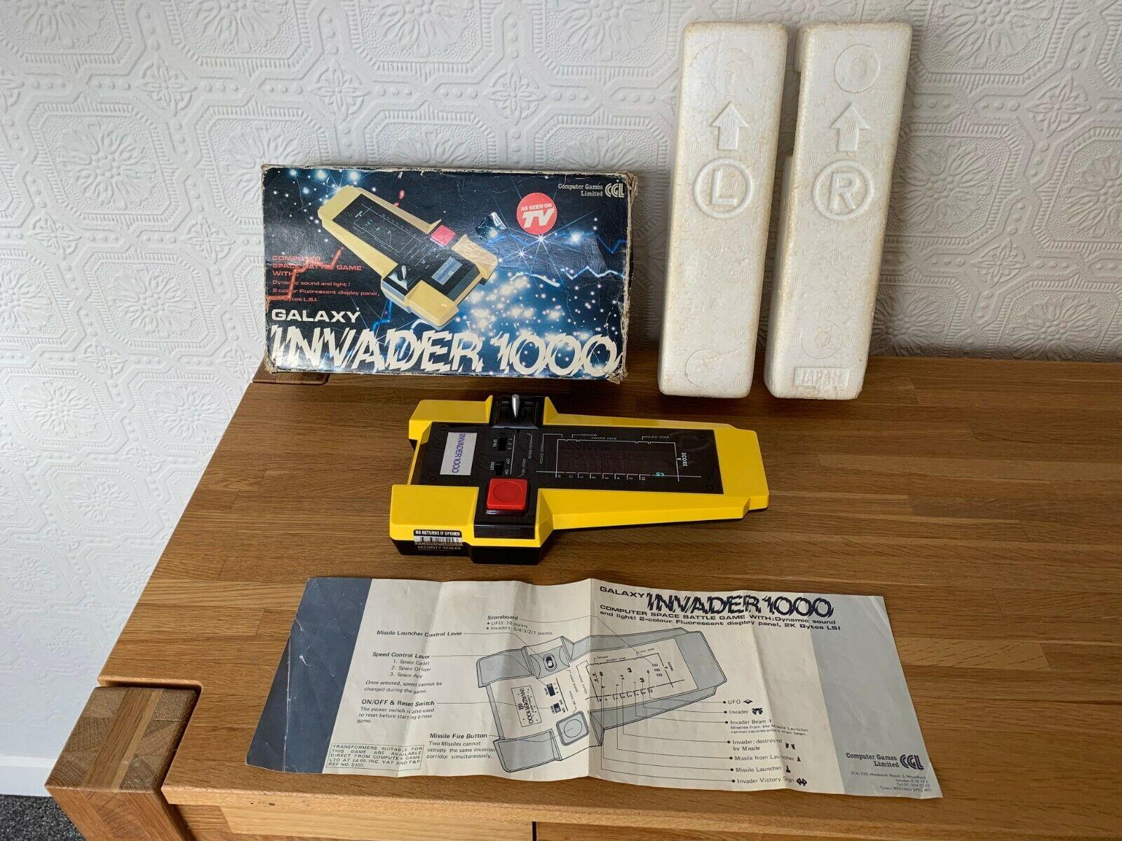 Excelente leucemia granulocítica crónica GALAXY Invader 1000 Vintage 1980 juego electrónico portátil-casi Nuevo