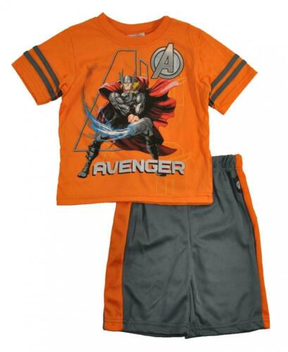 Avengers Assemble Toddler Boys Orange /& Charcoal 2pc Short Set Size 2T 3T