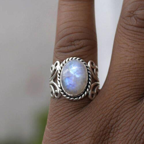 Women/'s Pretty Boho Natural Gemstone Sterling 925 Silver Rainbow Moonstone Ring