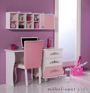 Details zu Schreibtisch Anastasia pink rosa Kinderzimmer Computer Tisch  inkl. Wandregal