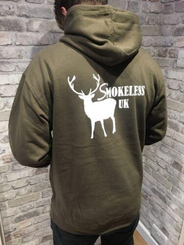 Smokeless Uk Stag Shooting Hunting Dark Green Hoodie White Logo Deer Stalker