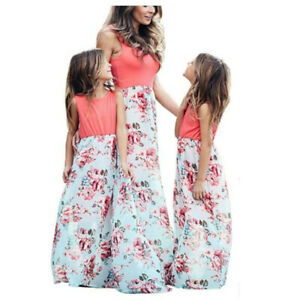 Mother and Daughter Boho Maxi Dress Summer Mommy/&Me Matching Floral Outfits Set
