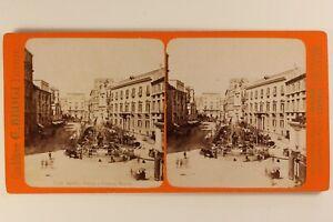 Italia Napoli Place Fontana Medina c1875 Foto Brogi Stereo Vintage Albumina