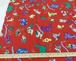Alexander-Henry-100-Cotton-Animal-Birthday-Party-on-Red-45-034-W-3-yd-Piece