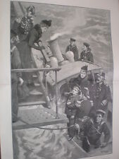 King Edward meets Prince George boards HMS HMY Ophir 1901 old print my ref T