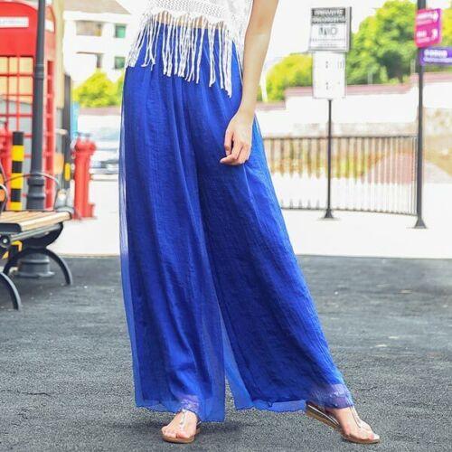 Wide leg trousers harem flared palazzo loose casual pants high waist chiffon