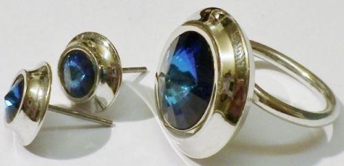Parure bijou bague boucles d'oreilles bijou vintage vintage vintage 70 Colore argento blu 5333 bd8713
