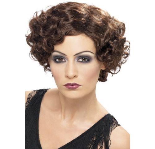 Womens Quality 20s Flirty Flapper Wig Short Bob Brown Fancy Dress Gangster Curly
