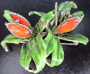 HATTIE-CARNEGIE-Numbered-Enameled-Flower-Vintage-Pin