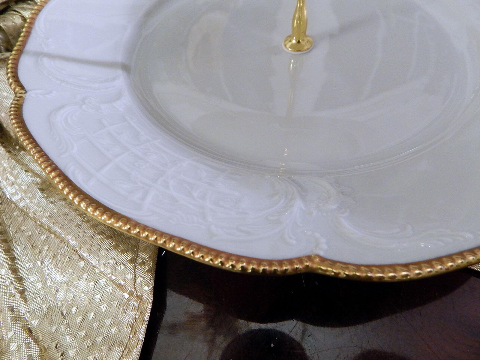 Edle Etagere Tafelaufsatz 2-stufig Rosanthal Sanssouci weiß weiß weiß PolierGoldkante N1   Zu einem erschwinglichen Preis  7820c1