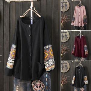 Royaume-Uni-Pour-Femme-a-Manches-Longues-Brode-Tunique-Chemises-boutonnee-Tops-Chemisier-Taille-Plus
