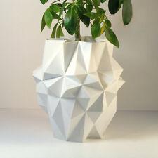 3D Printed Geometric Planter Pot Modern Planter Large White - 8.5 Inch Height
