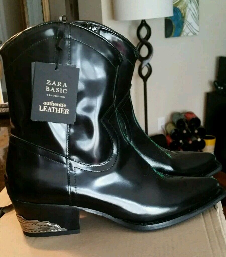 $159 NEW Zara Black Authentic Real Leather black Cowboy Boots Ankle US 8, Eu 39