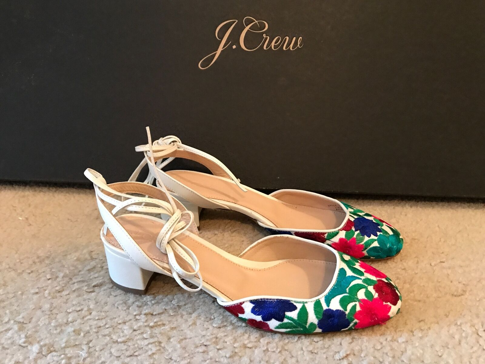 J.CREW ANKLE-WRAP SLINGBACK HEELS WITH EMBROIDERY Größe 6,5M Rosa Grün BL G4102