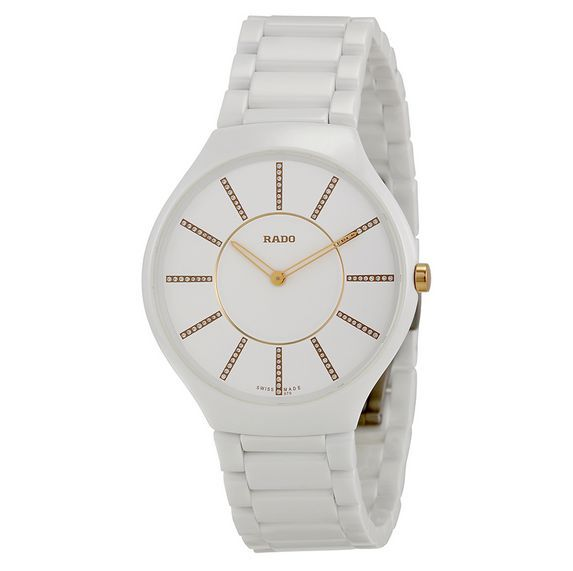 aad7c2d9a Rado True Thinline R27957702 Ladies White Ceramic Diamonds 39mm Quartz Watch  for sale online | eBay