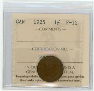 1925 Canada Small One Cent - ICCS VF-20 - Cert# XAH 031
