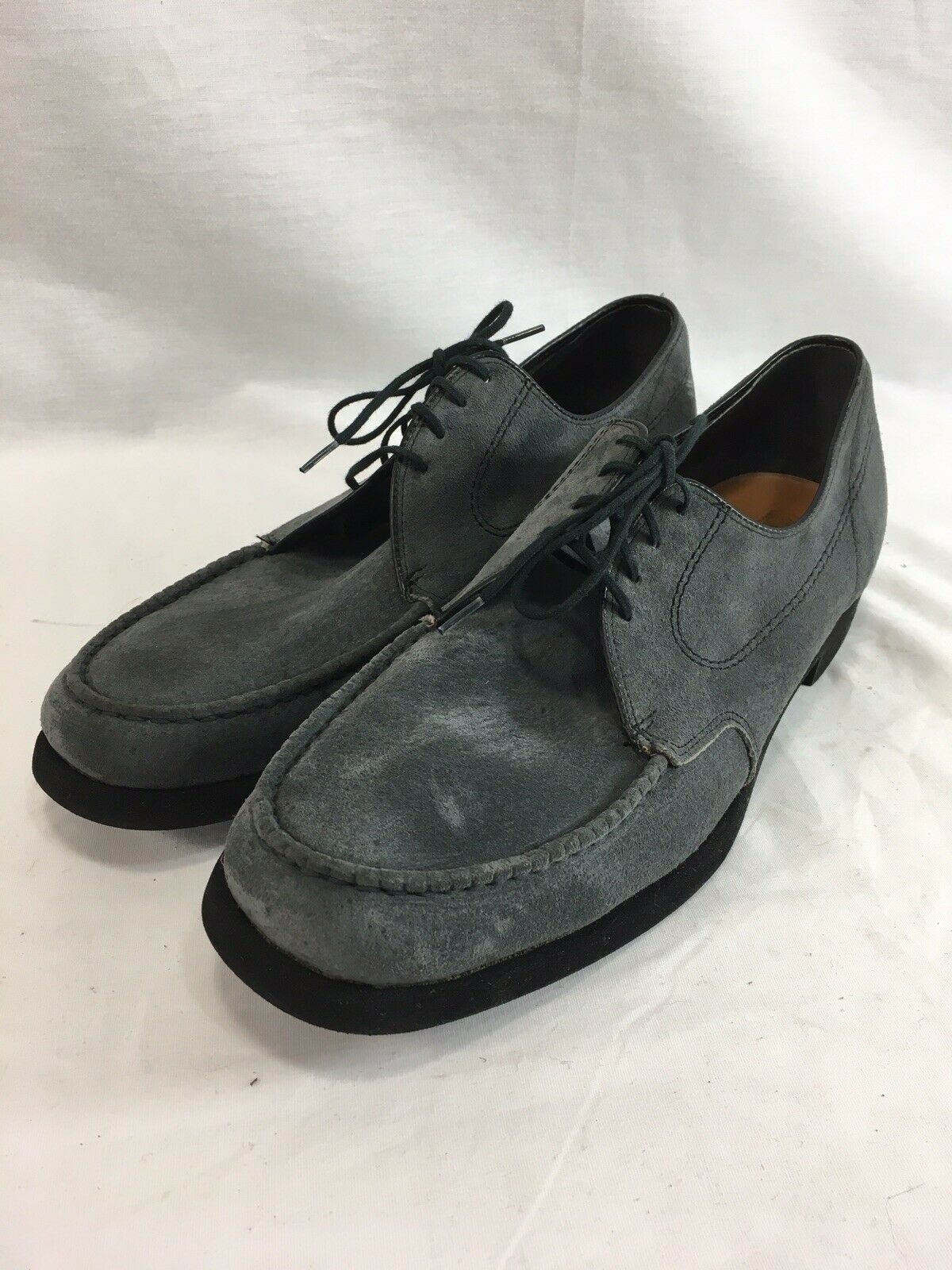 NOS VTG Hush Puppies shoes Oxfords Mens 10 M bluee Suede Lace Up Leather